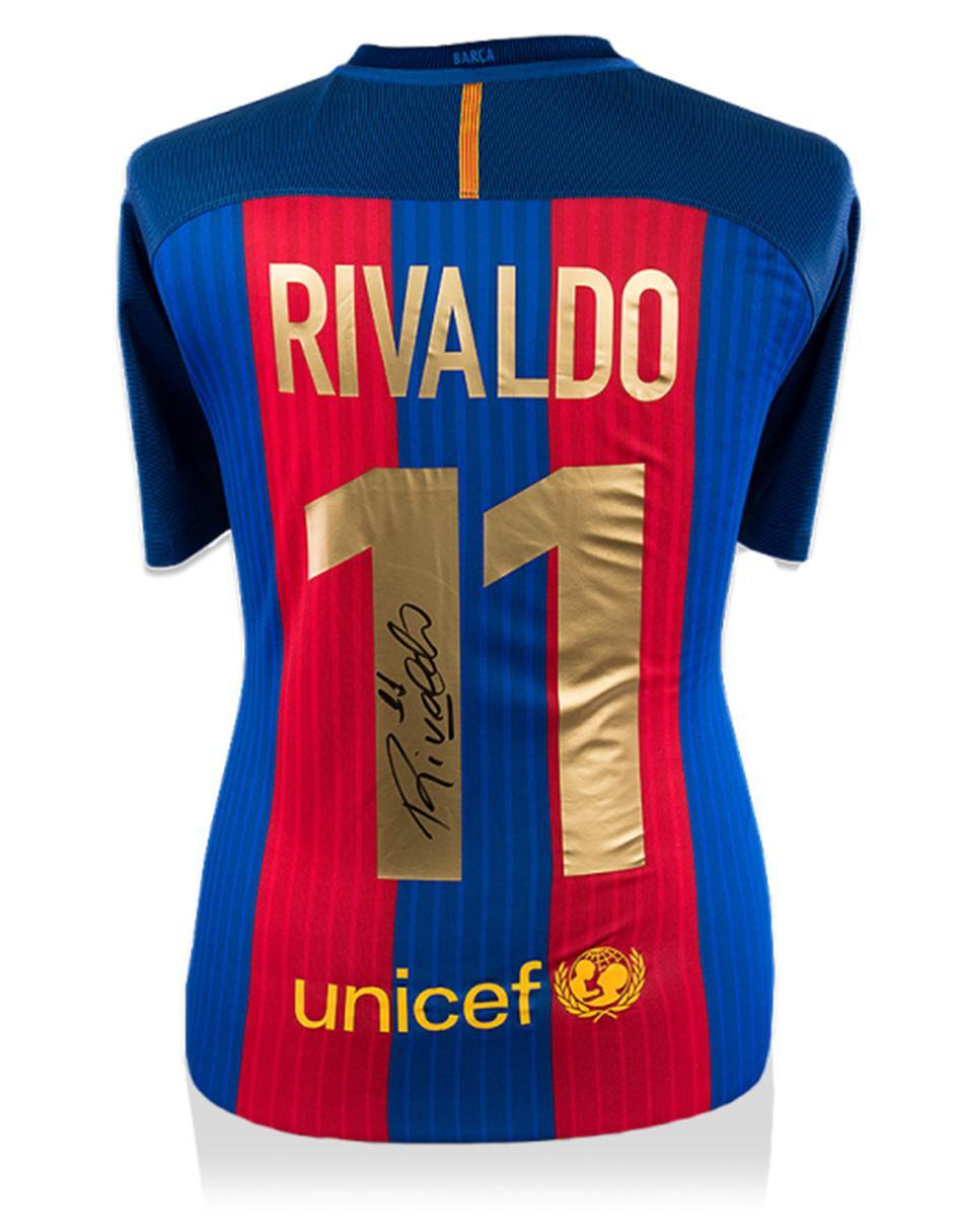 best service cff6c 1ad9f Jersey autografiada Idolos FC Barcelona Rivaldo